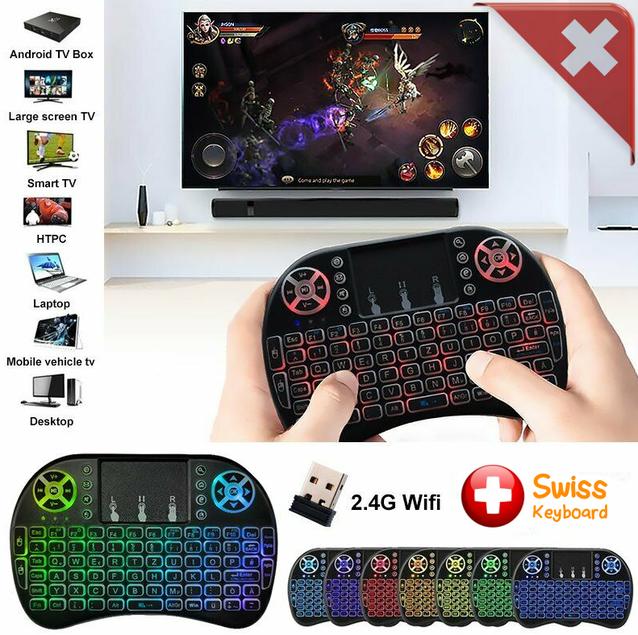 Mini Funk Tastatur Schweiz QWERTZ Keyboard Wireless 2.4 GHZ TV Smartphone Android iOS Hintergrundbeleuchtung Wireless
