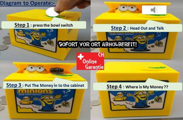 Minions Geld Sparbox Spardose Sparschein Geschenk Kinder Münzen Sparen