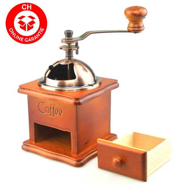 Nostalgie Kaffeemühle Kaffee Mühle Holz Expresso Gussmahlwerk Retro NEU
