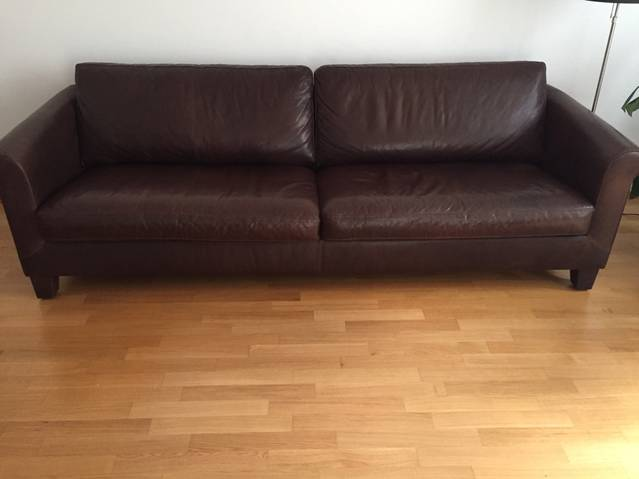 Original Machalke Ledersofa mit Hocker