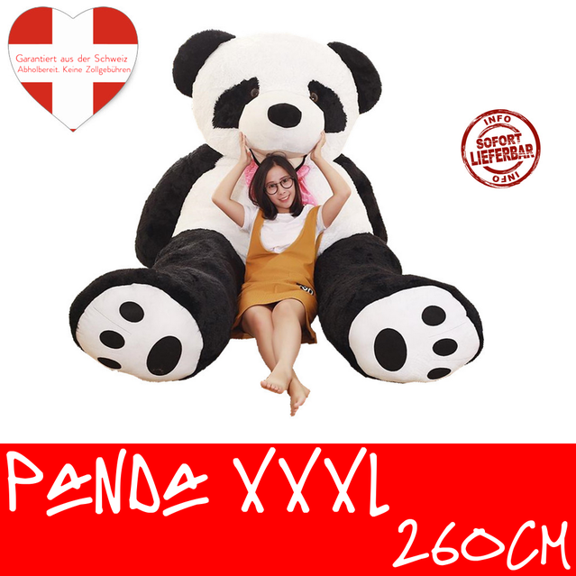 Panda 260cm XXL XXXL Pandabär Bär Stofftier Kuscheltier Plüschtier Schwarz Weiss Teddy Teddybär Geschenk Kind Kinder Frau Freundin Weihnachten Geburtstag