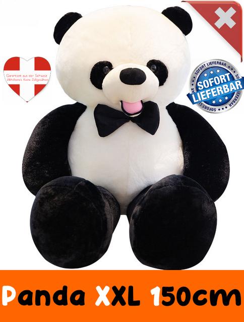 Panda Bär Pandabär Plüsch XXL Schwarz Weiss Fliege Geschenk Kind Kinder Frau Freundin XXL Plüschtier Kuscheltier ca. 150cm