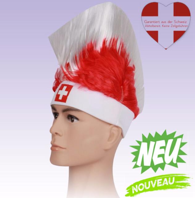 Perücke Schweiz Fussball Fan-Artikel Rot Weiss Schwiiz CH Flagge Perücke Irokese Herren Damen WM 2018 Punker Fan