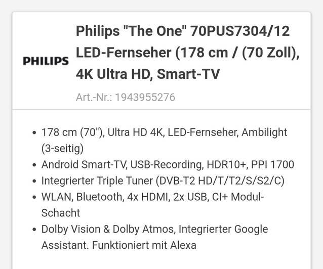 Philips Fernseher Neu wurde nie ausgepackt Neupreis1800Fr