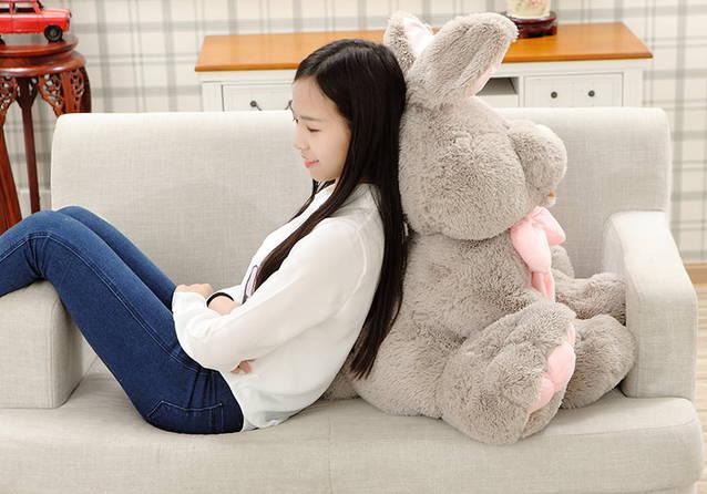 Plüsch Hase Kaninchen Plüschhase XXL 120cm Geschenk für Kinder Freundin Kind Mädchen