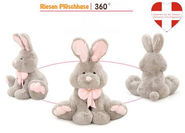 Plüschtier Hase graues Häschen XXL Premium Kuscheltier ca. 120 cm Ostern Geschenk Osterhase Schleife Kind Kinder