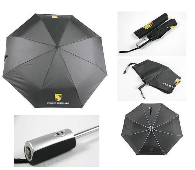 Porsche Auto Fan Regenschirm Taschenschirm Schwarz Wasserfest