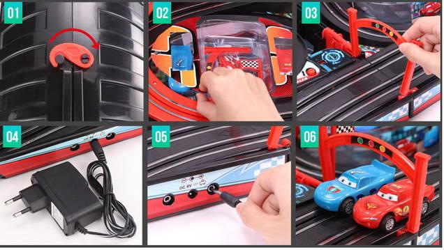 Portable Cars Rennbahn im Koffer Komplett-Set mit 2 Autos Car Racing Spielzeug Kinder RC mit Adapter Rennstrecke Kind Kinder Junge Geschenk Weihnachten