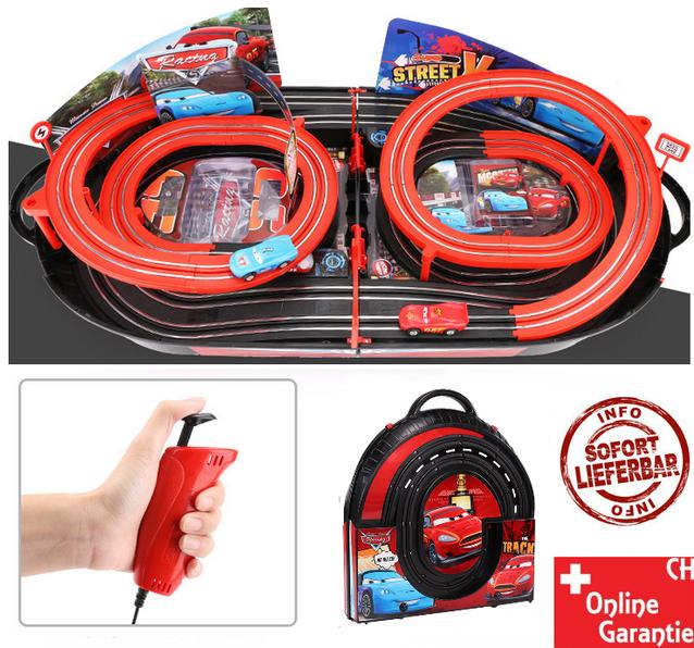 Portable Rennbahn im Koffer Car Cars Racing Auto Rennstrecke Geschenk Kinder Junge Koffer Reifen
