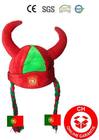 Portugal Fan Kappe Mütze Hut Wikinger Helm Zöpfen Fussball WM EM Fanshop