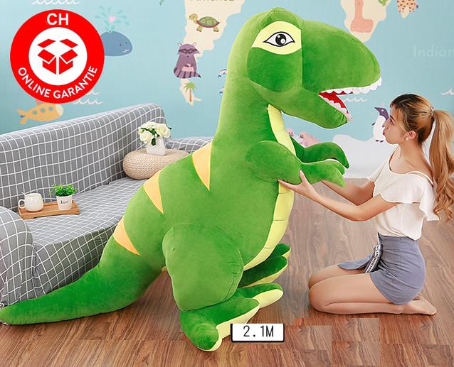 Riesen Plüsch Dino Dinosaurier Stofftier Tyrannosaurus Saurier Plüschdino XXL 210cm Geschenk T-rex Kind Kinder Grün Gscheicki Schwiiz