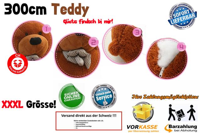 Riesen Teddybär 300cm 3m Plüsch Bär Plüschbär Teddy Kuscheltier Kuschelbär Bärchen Ted Geschenk XXL XXXL Kind Kinder Frau Freundin Weihnachten Geburtstag