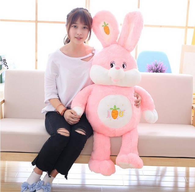 Riesen XXL Plüsch Hase Plüschhase Kaninchen Kuscheltier Pink ILU Ich liebe dich I Love You Pink Rosa Geschenk Mädchen Kind Plüschtier Bunny 150cm
