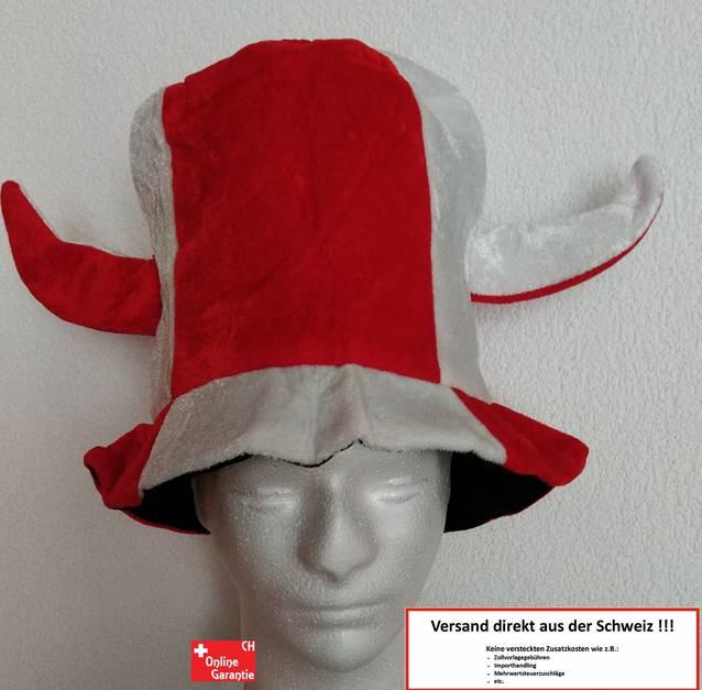 Rot Weiss Fan Hut Kappe Mütze Fanhut Schweiz Wallis Rotweiss Hörner Teufel Sport