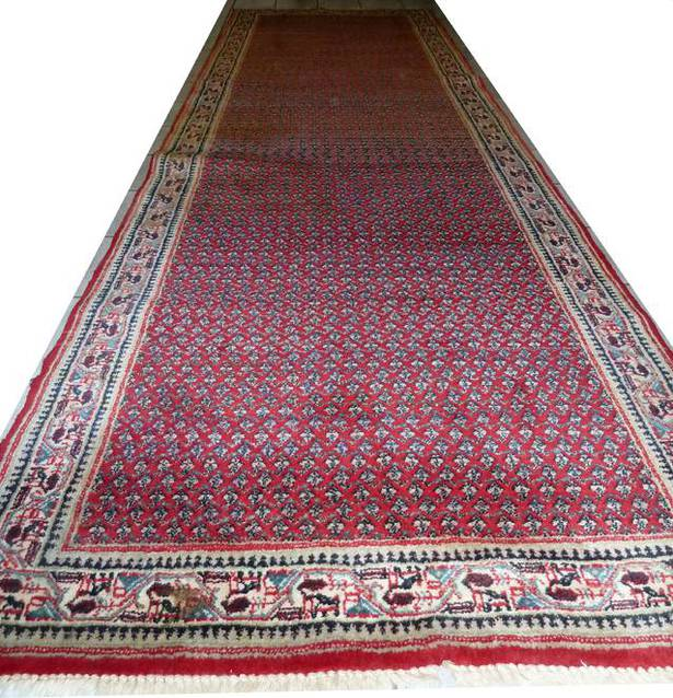 Sarough Teppich Iran 350 x 108 cm rot - beige  Handgeknüpfter Perser-Orient-Teppich Sarough Läufer 350 x 108 cm