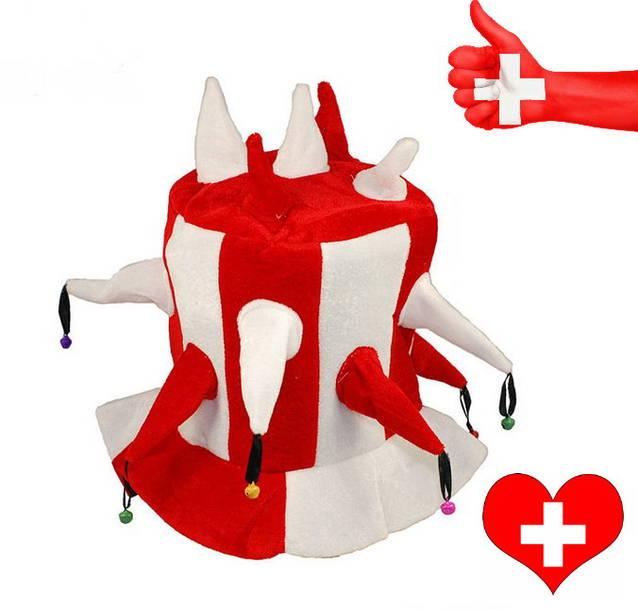 Schweiz WM EM Hut Narr Fan Mütze Kappe Hopp Schwiiz Schellen Lustig Fan Fanshop