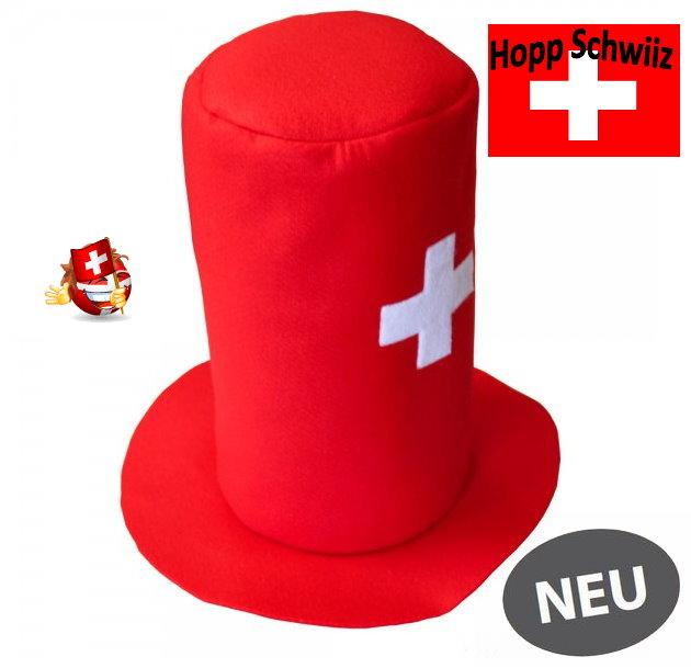 Schweizer Schwiiz Swiss Suisse Fan Zylinder Hut Kappe Mütze Fussball EM WM Hockey Tennis Handball Sport Fanshop