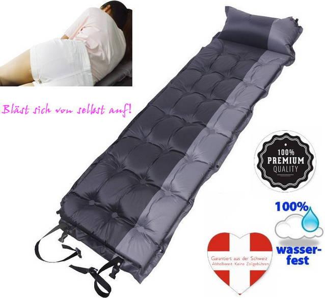 Selbstaufblasbare Schlafmatte Schlafsack Luftmatratze Matratze Kissen 5 cm dicker Luxus Camping Festival Openair Schwarz Grau