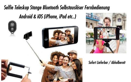 Selfie Stick Bluetooth Selfie Stange Self-portrait Monopod 3in1 Android Samsung Sony HTC iPhone iOS Foto Stick Auslöser Natel Handy Smartphone Neu Set