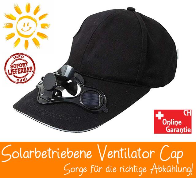 Solar Baseball Cap Mütze Kappe mit integriertem Mini Ventilator Sommer Gadget Solarkappe Sonne