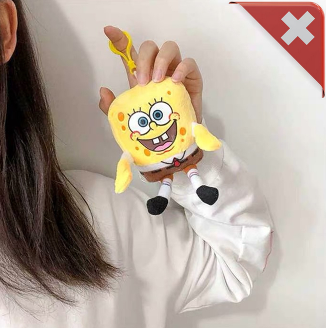 SpongeBob Schwammkopf Fan Plüsch Schlüsselanhänger Clip On Schlüssel Anhänger TV Serie Kino