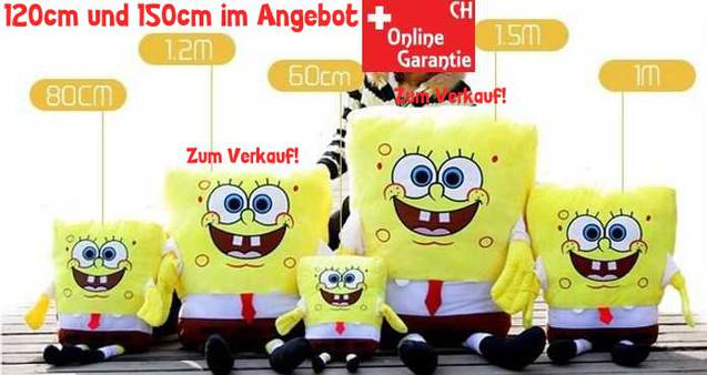 Spongebob Schwammkopf XXL 120cm Plüsch Plüschtier Bob Schwamm kopf Super Weich Plüschtier Fernsehserie