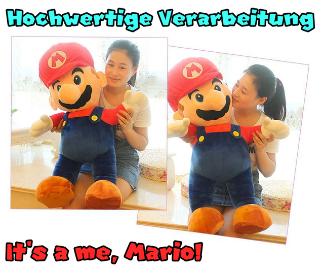 Super Mario Mario Rot Riesen Plüsch Figur Plüschtier Stofftier Nintendo Switch Geschenk XXL Videospiel Mario Bros.
