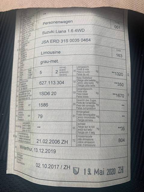 Suzuki Liana 1.6. 4x4 Sport frisch ab mfk und Service 5 . 2020