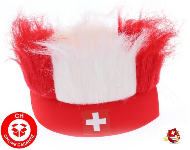 Switzerland CH Perücke Stirnband FAN mit Haar, Accessoire Schweiz Suisse Fussball Hockey Tennis WM EM Russland