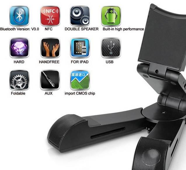 Tablet Bluetooth 3.0 Lautsprecher Apple iPad Samsung Standhalter Mobil Klappbar