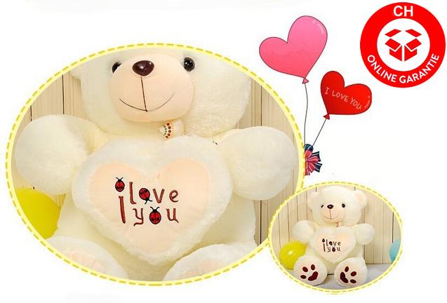 Teddy Bär Teddybär Weiss Plüschbär Plüsch Bär mit Herz I love You Ich liebe dich Glücksbringer Geschenk Frau Valentinstag