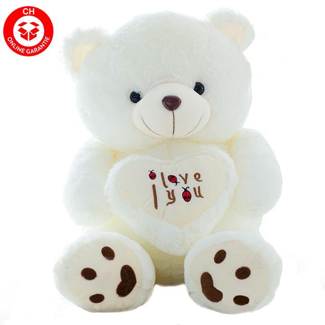 Teddybär Plüsch Bär Teddy Plüschbär Weiss I Love You Herz 1.1m Geschenk Liebe Love ILY
