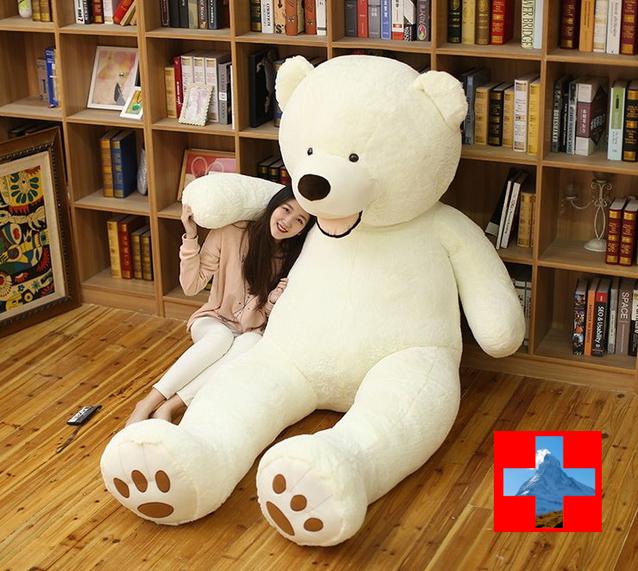 Teddybär XXL Bär 200cm 2 Meter Eisbär Eis Bär Teddy Weiss Plüschbär Plüschtier Gross Geschenk Kind Frauen Weihnachten