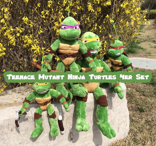 Teenage Mutant Ninja Turtles Plüsch Puppe Puppen Spielzeug TMNT Leonardo Donatello Raphael Michelangelo Plüschtier Schildkröte XXL 4er Set 70cm