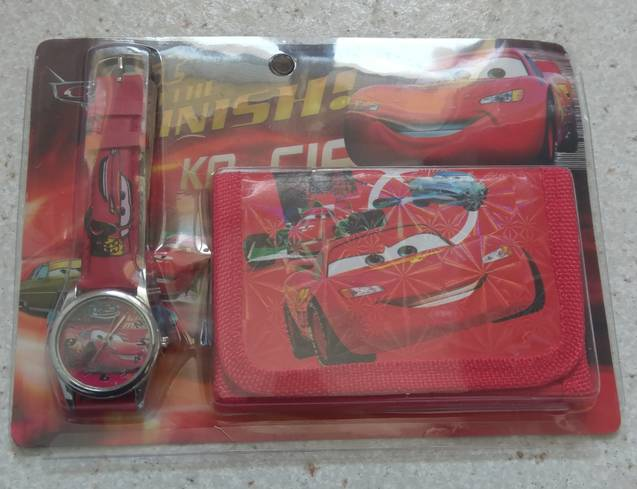 Walt Disney Pixar Cars Lightning Mc Queen Kinder Uhr mit Geldbörse Portemonnaie Geldsack Fan Weihnachten Geschenk