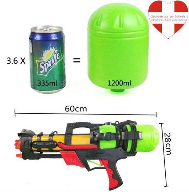 Wassergewehr XXL 60cm mit Pumpfunktion und 1.2L grossen Wasser Tank Sommer Wasser Pistole Gewehr Spielzeug
