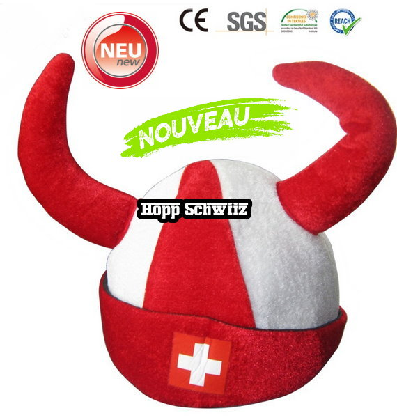 Wikinger Hut Schweiz Fan Cap Hut Mütze Fanartikel Kleidung Hopp Schwiiz Allez la Suisse Switzerland CH Fussball Hockey WM EM Support Stadion TV