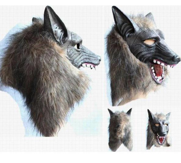 Wolf Maske Latex Fasnacht Kostüm Halloween WerWolf Tiermaske