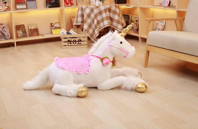 XXL Einhorn Plüsch Pferd liegend Mädchen Geschenk Ein Horn Plüschtier Plüschpferd