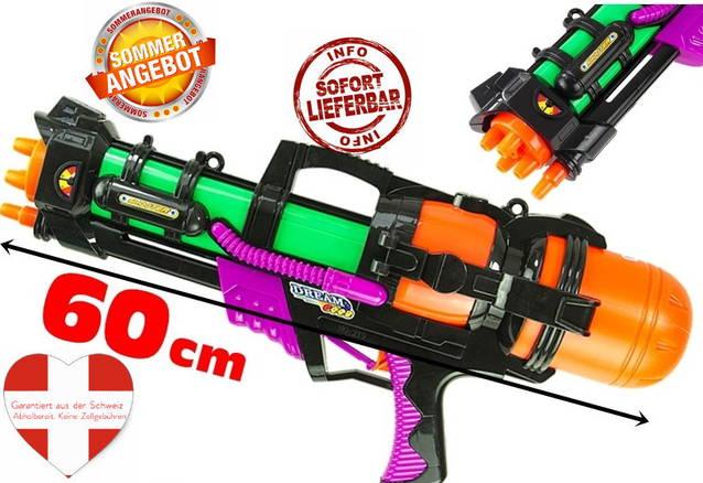 XXL Wasserpistole Wassergewehr Sommer Wasser Spielzeug 60cm 1.2L Tank Behälter Strand Bad Urlaub Openair Camping