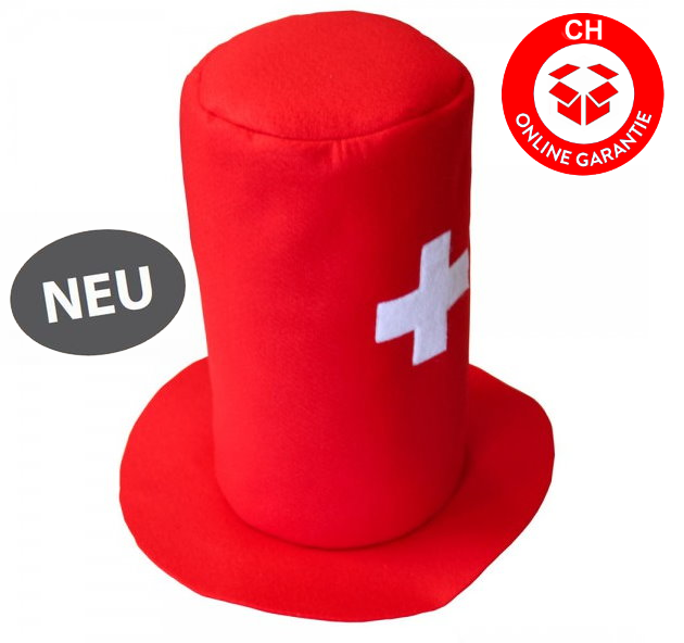 Zylinder Hut Cap Mütze Perücke Schweiz Fussball WM EM Hockey Tennis Fan Hopp Schwiiz Switzerland Suisse CH Party Fussball Russland Hockey WM