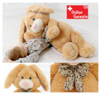 Brauner Plüsch Hase Hasi Kaninchen Plüschhase Geschenk Kind Kinder Freundin 120cm XXL mit Schleife