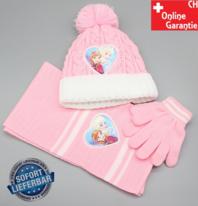 Disney Frozen - Die Eiskönigin Elsa und Anna Winter Mütze Strickmütze Cap Kappe Schal Handschuhe Beanie Kappe Mütze Mädchen Set Fan Accessoire