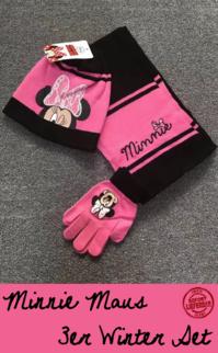 Disney Minnie Maus Mouse Winterset Cap Beanie Mütze Kappe Handschuhe und Schal Kind Mädchen Set