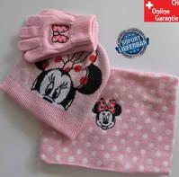 Disney Minnie Maus Mütze Cap Beanie Cap Kappe Mütze Wintermütze Handschuhe Schal Mädchen Set Pink Rosa