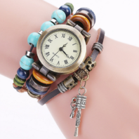 Frauen Damen Uhr Analog Quarzwerk mit handgefertigt geflochten Leder Armband Geschenk