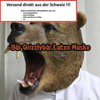 Grizzly Bär Bären Maske aus Latex Tiermaske Halloween Fasnacht