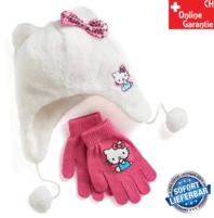 Hello Kitty Mütze Kappe Beanie Handschuhe Set für Kinder Mädchen Fan Kleidung HK Hellokitty Fan
