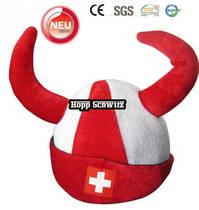Hopp Schwiiz Fanhut mit Hörner, Fanmütze für Fussball, Hockey WM EM Schweizer Nati Hut Cap