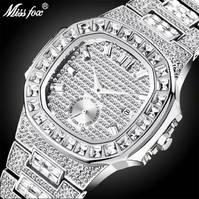 MISSFOX Iced Out Uhren Männer Voller Diamanten Quarz-uhr Bling Bling Hiphop Hot Rapper der Schmuck